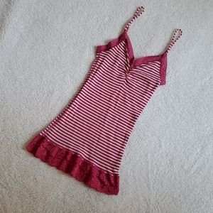 Juniors Energie Striped Tank Top with Lace Detail